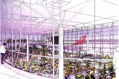 David Wardman, Brisbane Airport, watercolour