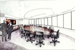 David Wardman, Boardroom, watercolour