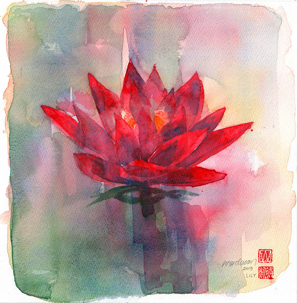 Image: David Wardman, Red Lily, watercolour
